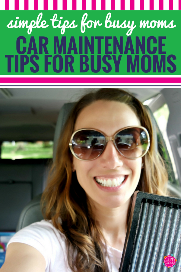 I'm sharing simple car maintenance tips for busy moms. If I can do it, you can do it! Including a maintenance schedule, hacks to keep your car clean, a free printable maintenance log for women, plus the secret you didn't know about your vehicle air filter. #forwomen #carmaintenance #freeprintable #cleancar #AD