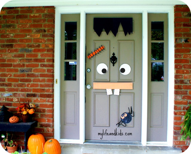 Decorate your door for Halloween with My Life and Kids Frankenstein Halloween Door