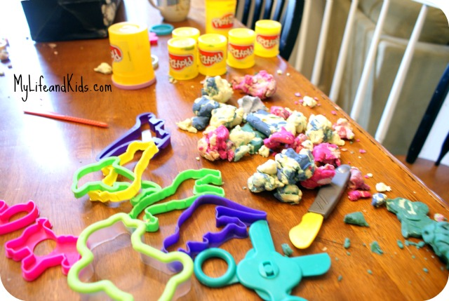 Playdoh is messy @MyLifeandKIds