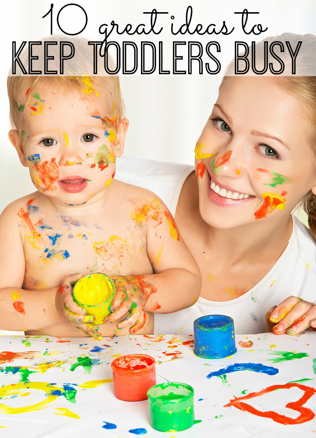 10 great ideas that will keep your toddlers busy for more than 10 minutes. From crafts to quiet time activities - and things mom doesn't need to help with - great ideas for toddlers!