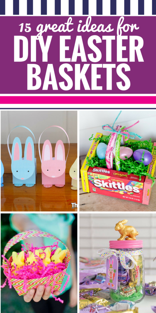 These easy DIY Easter Baskets for kids, teens and adults will get everyone excited for the Easter bunny to come this year! From great options for the budget (hello, Dollar Store supplies!) to options for anyone wanting to get crafty, these creative baskets are fun! #easter #diy #crafts #easterbaskets #kids #ideas #toddlers #teens #spring