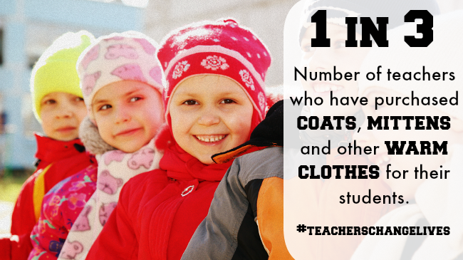Teachers Buy Students Coats, Mittens and Warm Clothes