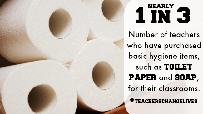 Teachers buy Toilet paper and soap