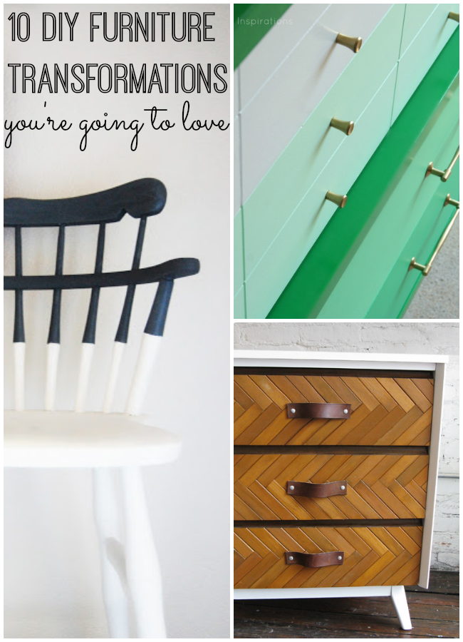 If you are looking to breathe new life into a piece of furniture, get inspired by these 10 DIY furniture makeovers. It's amazing what a little paint can do for your decor. Get inspired with a fun project for your bedroom, kitchen or anywhere in your home.