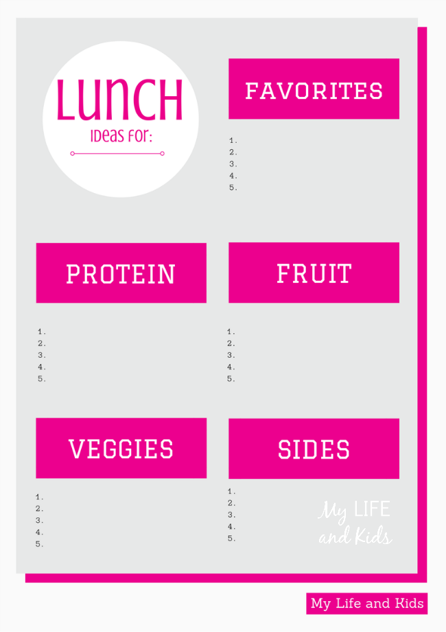 Make school lunches that your kids will actually eat this year! This handy printable will give you a plan that makes packing lunches quick and simple!