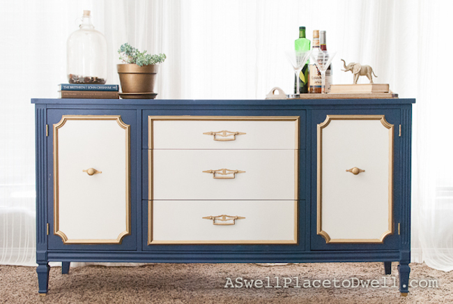 Navy, White, and Gold Credenza