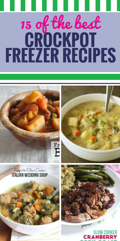 15 Crockpot Freezer Recipes. We're all busy, so it's nice to have a premade meal waiting in the freezer. From soup to chicken casserole, dinner is ready when you are.