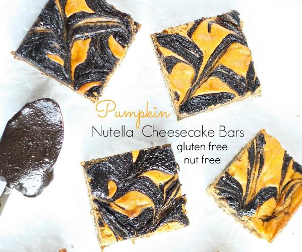 Pumpkin Nutella Cheesecake Bars (Nut Free)