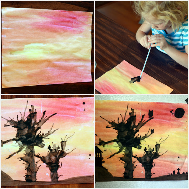 Watercolor and Ink Blown Shadow Trees