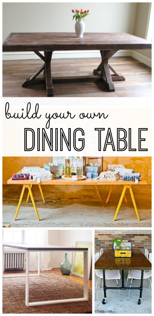 Building your own furniture doesn't have to be hard. Learn how to build your own dining room table or kitchen table. It's easier than you'd think. From idea to design to tutorial, get inspired by these ten DIY tables.