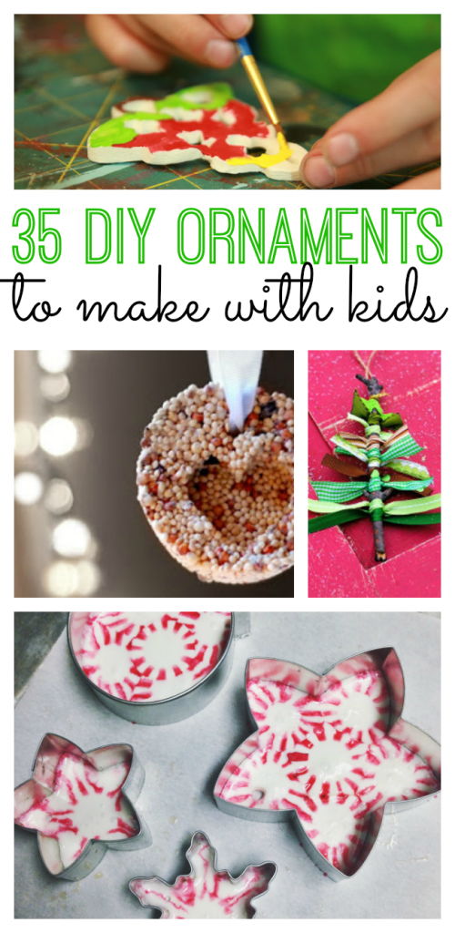 If you're looking for DIY Christmas ornaments to make with your kids, you're in the right place. I'm sharing more than 35 of our favorite easy ornaments. Some use salt dough, others use glitter and glass, all of them can be personalized in some way, and some even use photos to make it even more personal. Added bonus! Several of them use supplies from Dollar Stores!