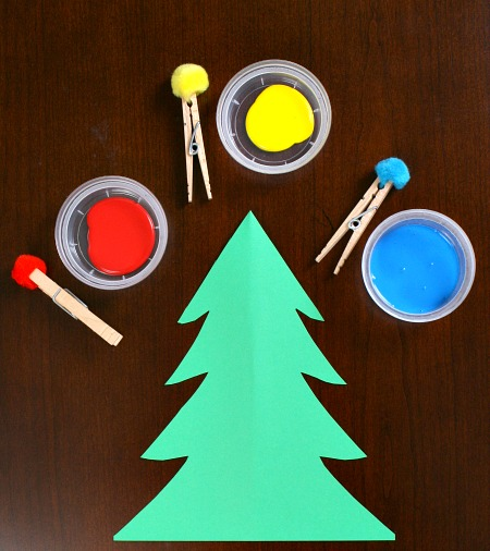 Pom Pom Painting Christmas Tree Crafts