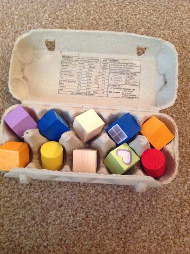 Wooden Blocks in Egg Cartons