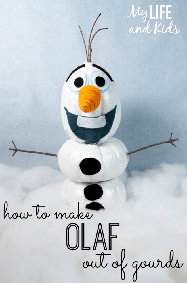 Bring Olaf to Life this Fall using gourds! Follow our full tutorial to build this lovable snowman.