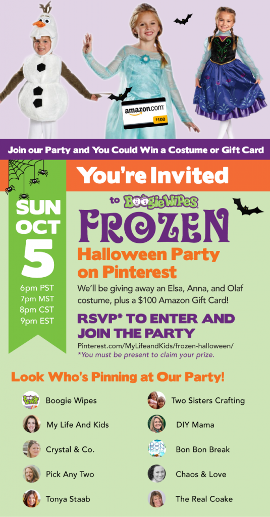 Join us for the Boogie Wipes Frozen Halloween Party on Pinterest. RSVP here!