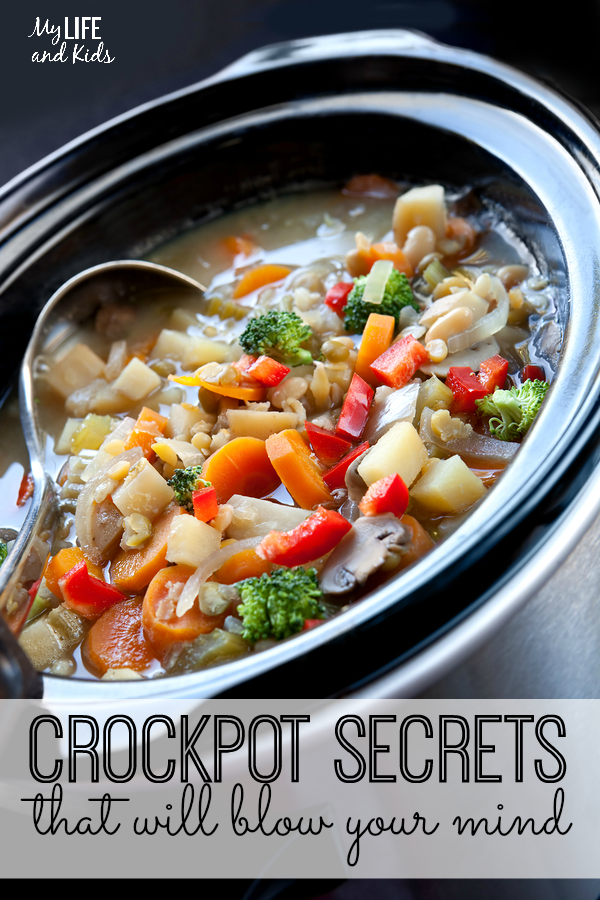 Crockpot secrets that will blow your mind! The one thing you should never do while making your favorite crockpot recipes, what to do when you forget to plug it in, and 7 more secrets and tips will make you LOVE your crockpot even more. #9 makes me very, very happy!