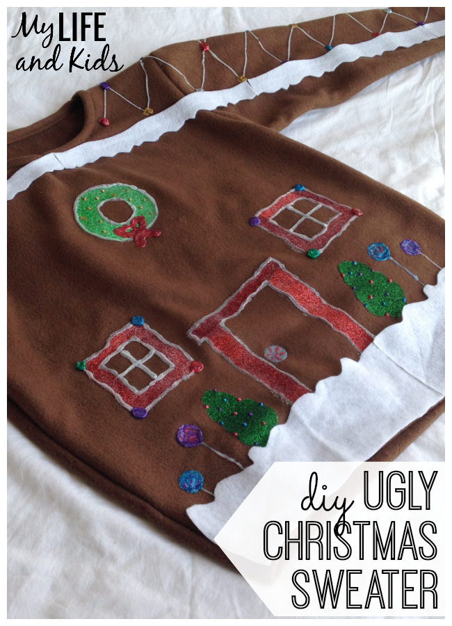 DIY gingerbread house ugly Christmas sweater for the #uglysweaterchallenge by I Love to Craft.