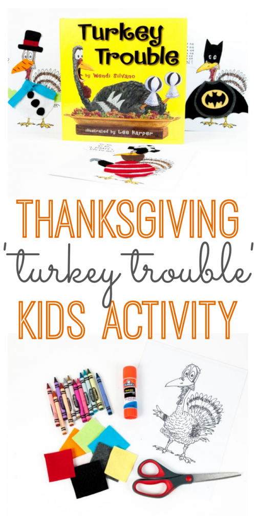 A fun Thanksgiving activity for the kids based on the book 'Turkey Trouble'.
