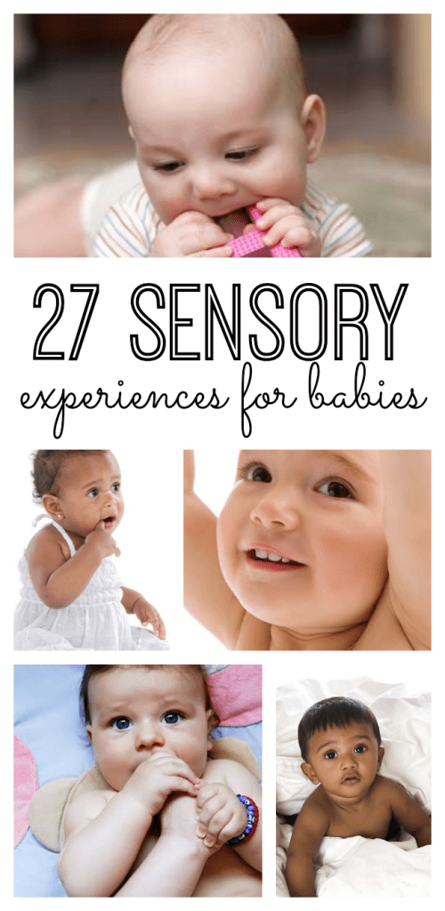 27 sensory experiences for babies to explore their environment through their five senses! My son is obsessed with #25!