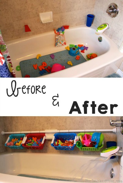 Four simple tips on organizing the kids' bathroom! I love the repurposed planter idea!