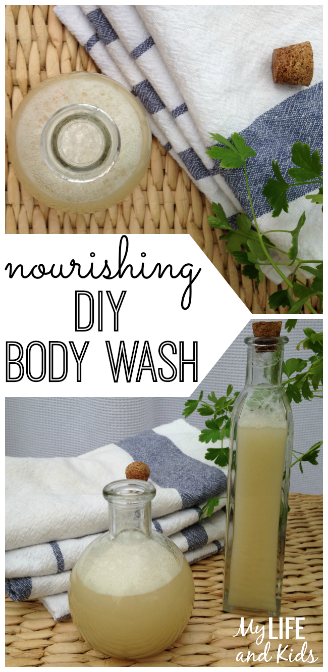 Make your own DIY body wash with four simple, easy-to-find ingredients. So great for your skin (and your hair), this recipe is healthy, natural, nourishing, and refreshing. (And is smells good too.)