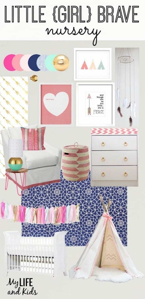 "Inspired by Shakespeare's quote ""And though she be but little, she is fierce"" and Native American culture, this boho chic baby girl nursery is both playful and serene."