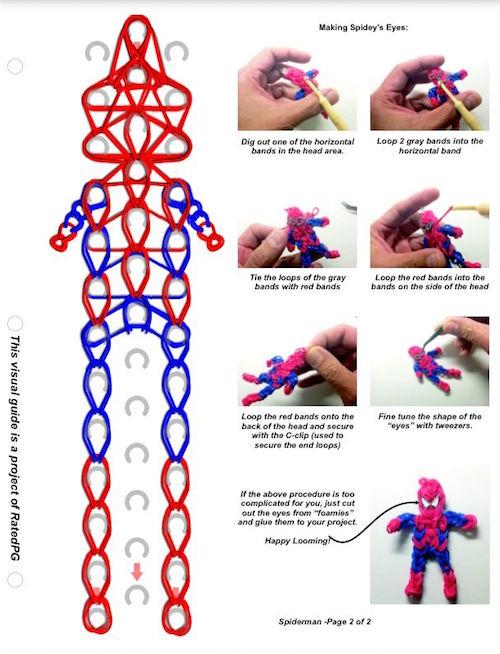 Схема плетения фигурок резиночками на станке
