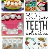 Dental Health Month! Great tips for teaching your kids about their teeth and super creative teeth crafts and teeth activities for kids. Great for toddler, preschool, kindergarten and elementary age kids!