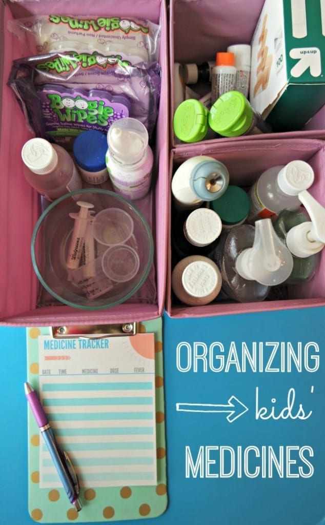 Great tips for organizing your kids' medicine so everything is easy to find when someone is sick in the middle of the night. Plus - two free printables to track medication AND remember what first aid supplies you need to stock up on. Be sure to read about how to properly dispose of expired medication - it will blow your mind!