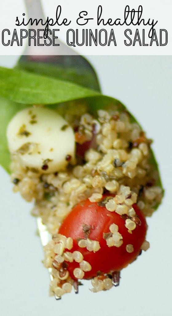 Trying to lose weight? This simple and healthy Caprese Quinoa Salad is packed with flavor, fiber, and protein, so it's a great way to skirt around those pesky mid-afternoon cravings. And - this super simple salad recipe tastes delicious!