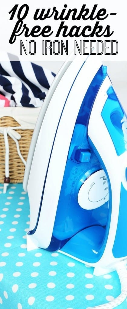 Hate to iron? 10 hacks that will keep you wrinkle free without an iron! From curtains to clothes and even bedding and tablecloths, these hacks will change the way you clean (and you can throw away your iron.)