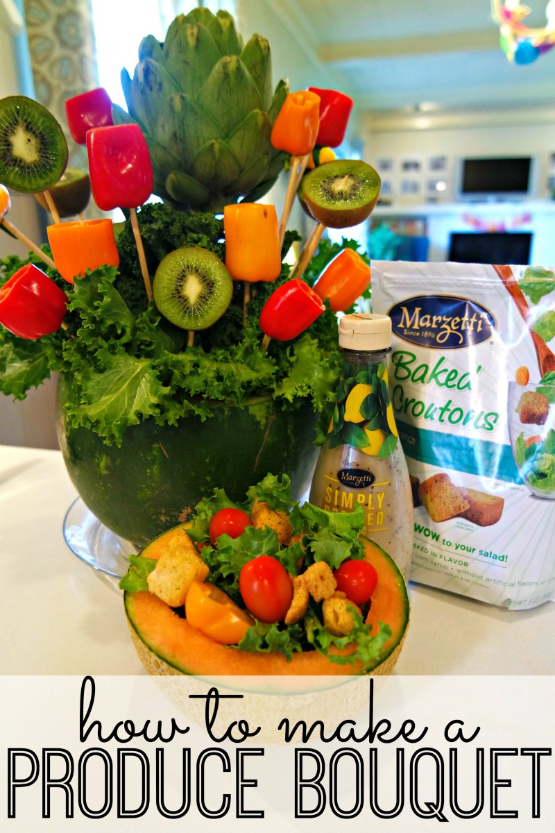 This produce bouquet is the perfect addition to your Mothers Day table setting! It's so simple to make and delicious to eat too. Definitely include it as part of your Mothers Day brunch! (And be sure to check out the creative salad bowls - I've never seen this before!)