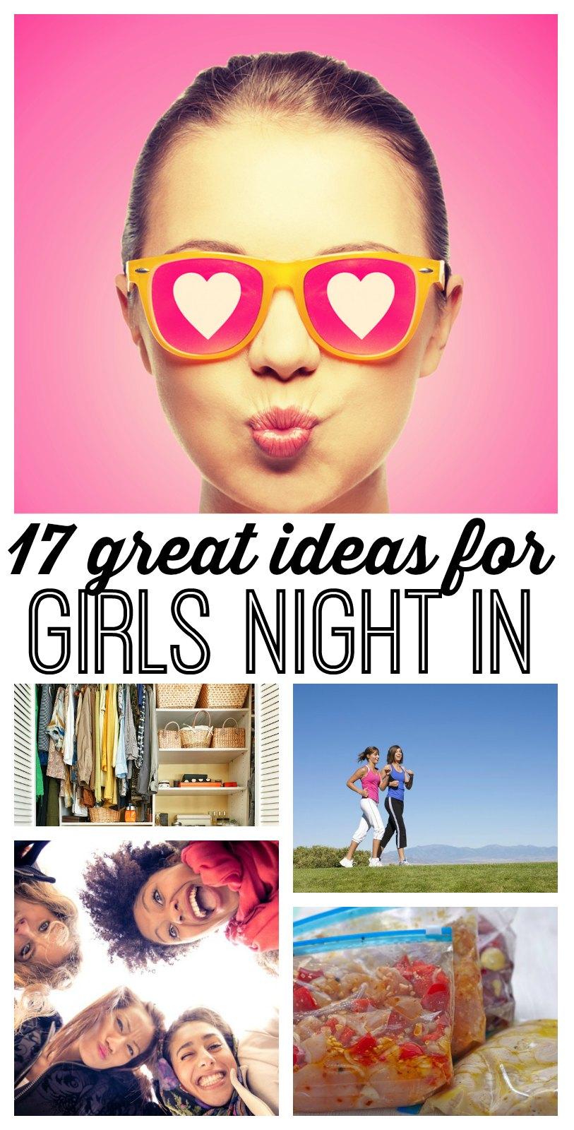 17 awesome girls' night in ideas! Sometimes - you just need a night IN with your girlfriends. Use these 17 girls night in party ideas to keep things simple and FUN! Call your best gal pals, and start making plans to stay in! (I especially love #12!)