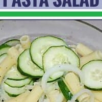 Whether you're feeding a crowd or just have a garden overflowing with cucumbers, this easy pasta salad is always a hit, and it's the perfect dish to bring to a cookout. It's crispy, cold, sweet and refreshing - just what you want during the summer heat. Cut the sugar in half to make it a healthy option.