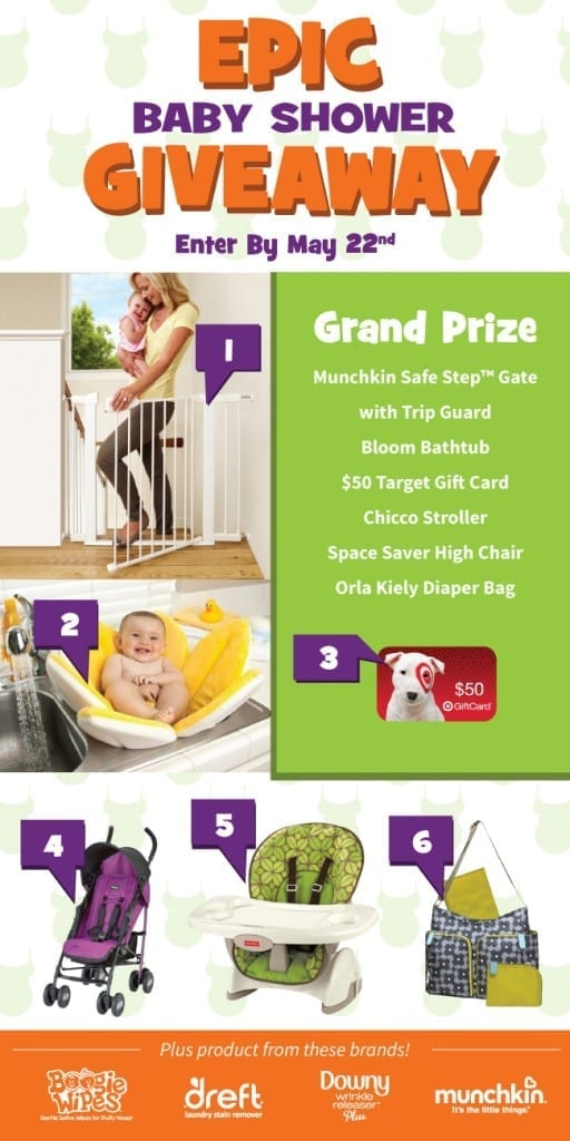 Epic Baby Shower Giveaway! Are you pregnant or a new mom? Enter now to win over $300 in prizes! Ends May 22.