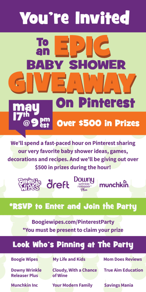 You're invited to an EPIC baby shower party on Pinterest! We're giving away more than $500 in prizes! Click here to learn more and RSVP now!
