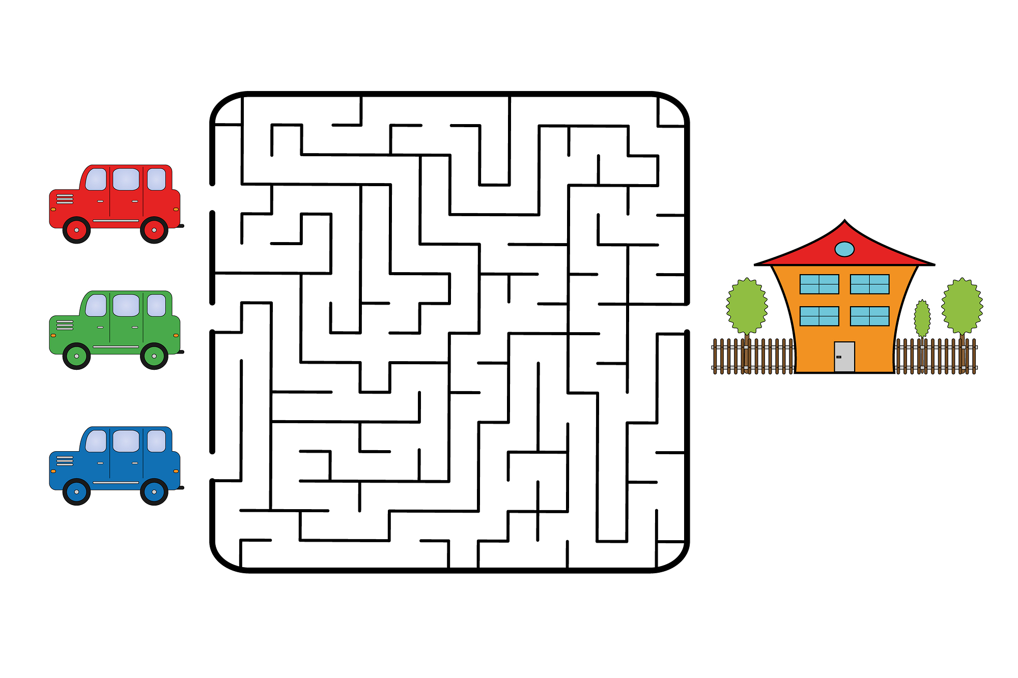 car maze free printable travel games for kids