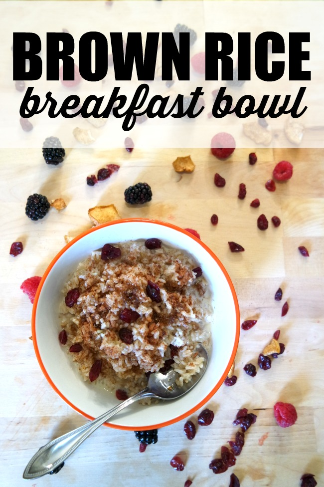 These simple brown rice breakfast bowls are hot, healthy and full of fiber to keep us full and warm all morning. This recipe doesn't get much easier. Mix and match your toppings for a different taste every day of the week. And don't be surprised if your family starts asking for this meal all the time (even at dinner.)