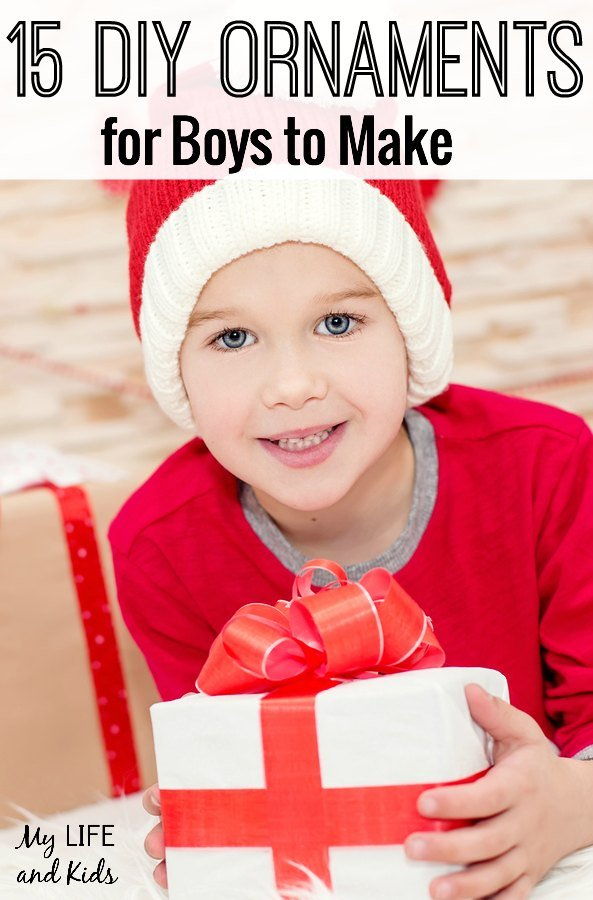 Check out these 15 DIY ornaments for boys to make this Christmas season! These are perfect ornaments to trim the tree or to give as gifts.