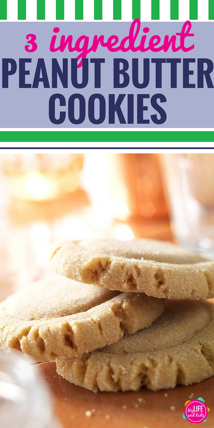These easy peanut butter cookies are soft and delicious - and so simple to make. Just 3 ingredients to whip up a batch of these chewy gluten free homemade cookies. Best cookies ever! #peanutbutter #cookies #simple #glutenfree #dessert #yum