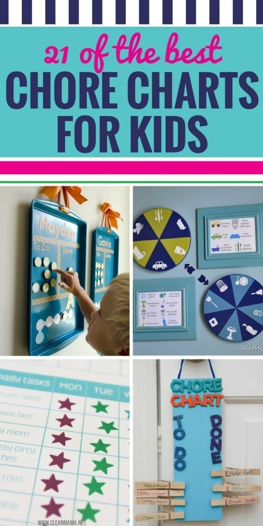 Whether you have multiple kids, young kids or older kids, you're going to love these 21 DIY chore chart ideas. Get your kids excited about doing chores and help keep them on track with their responsibilities with these chore charts and printables.