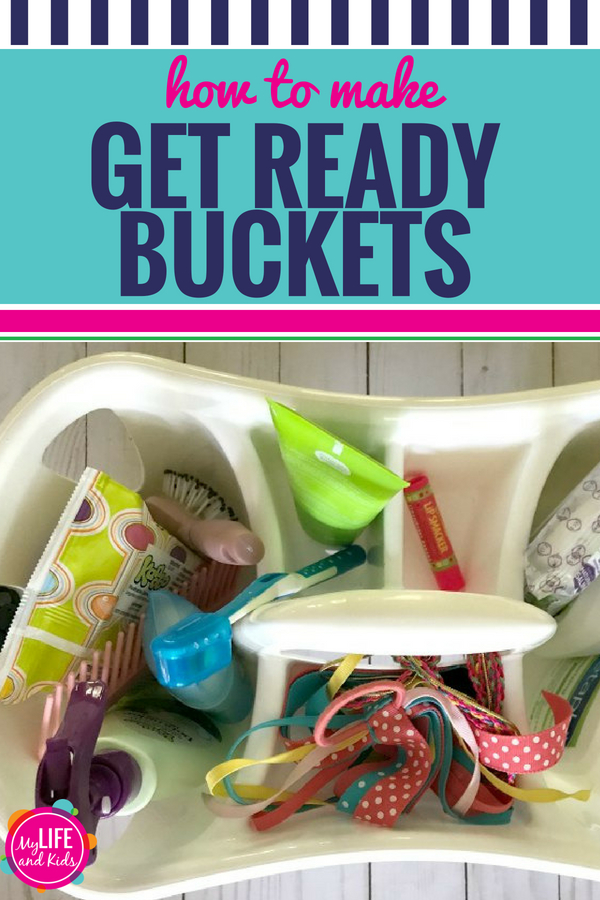 "Sick of your kids fighting over the bathroom every morning? Or nearly missing the school bus because they can't find a pair of socks? Or how about having to search the house for the hairbrush? As parents, we've all been there. Luckily, these ""Get Ready Buckets"" are super simple to pull together and will make a HUGE difference in your mornings. For smoother mornings, follow this tutorial to make every child in your house a Get Ready Bucket! #backtoschool #organization #kids #morningroutine"