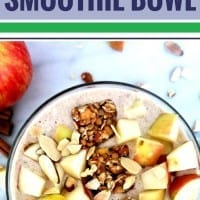If you love apple pie, you are going to really love this recipe for apple pie smoothie bowls. It's easy, full of oats and protein and will keep your energy up for hours after you eat. Just toss into your Vitamix and breakfast is ready. Easily substitute almond milk and add chia seeds or any other toppings you want.
