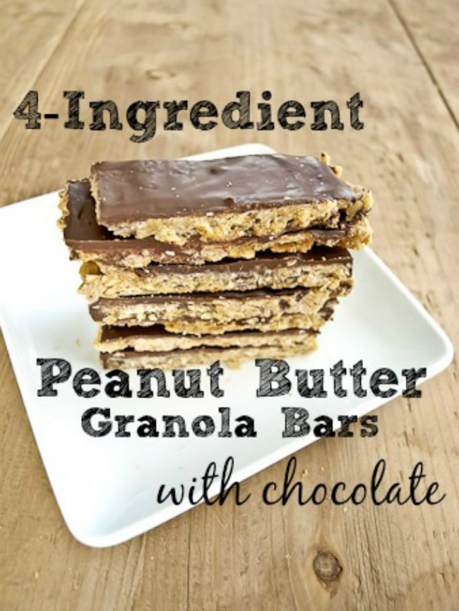 Peanut Butter Granola Bars with Chocolate – 4-ingredient peanut ...