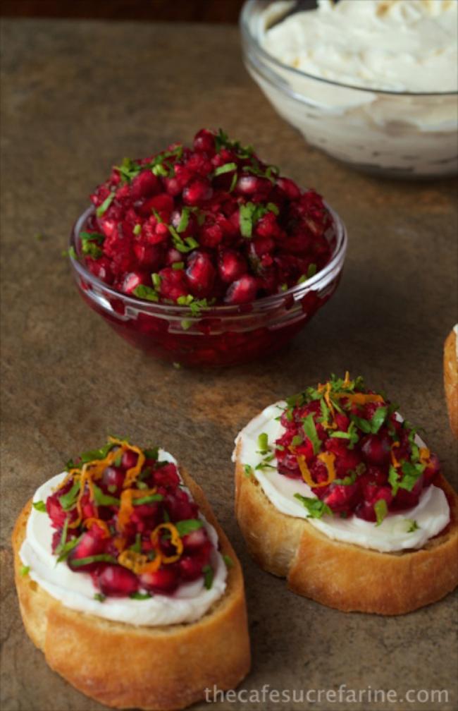 cranberry-and-pomegranate-bruschetta