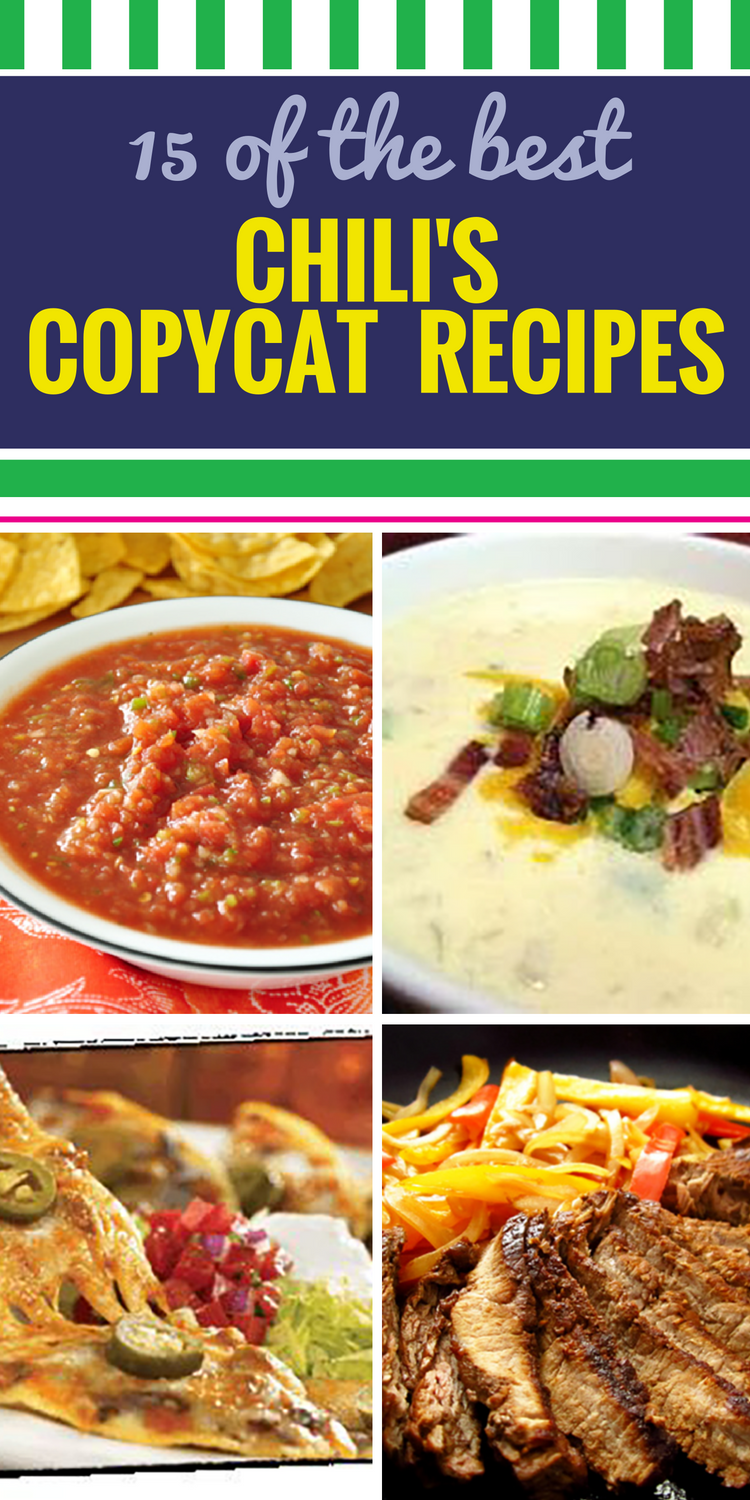15 Copycat Chili's Recipes. Whether you're in love with Chili's soup, their salsa or you have a favorite chicken dish, you'll love these Copycat Chili's recipes. There are even some crockpot recipes that you can use.