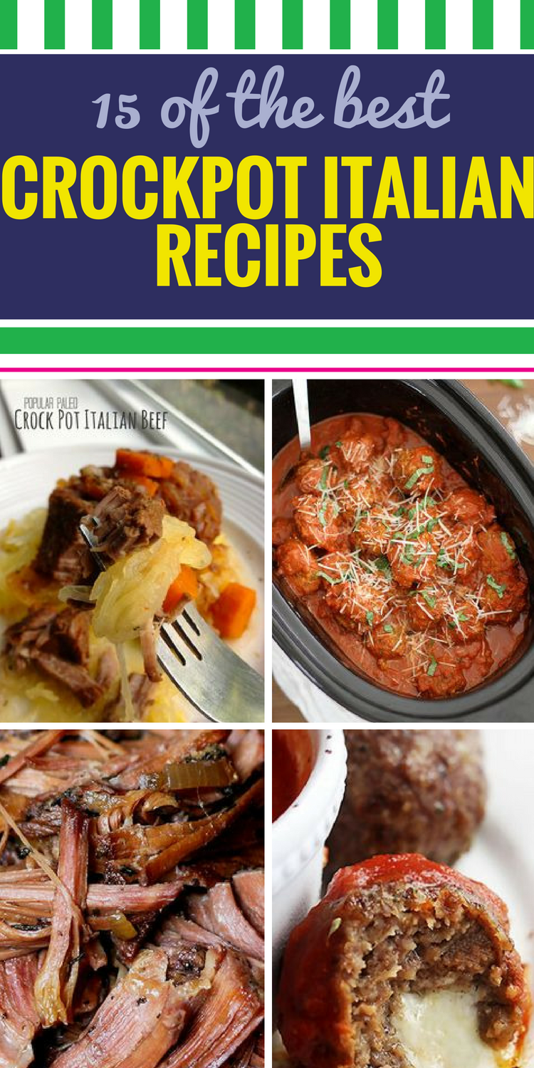 15 Crockpot Italian Recipes. Nothing pleases a crowd like a big Italian dinner. Make a meal big enough to feed the whole family (and plenty of friends) with these pasta, chicken and soup favorites. From decadent and rich to light and healthy, there's something for everyone.