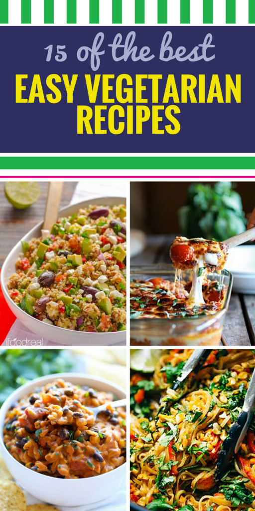 15 Easy Vegetarian Recipes. Get more variety in your vegetarian diet with these fantastic meal ideas. Want a healthy dinner? A hearty soup? A delicious quinoa salad? You're sure to find something new you'll love in this collection of recipes.