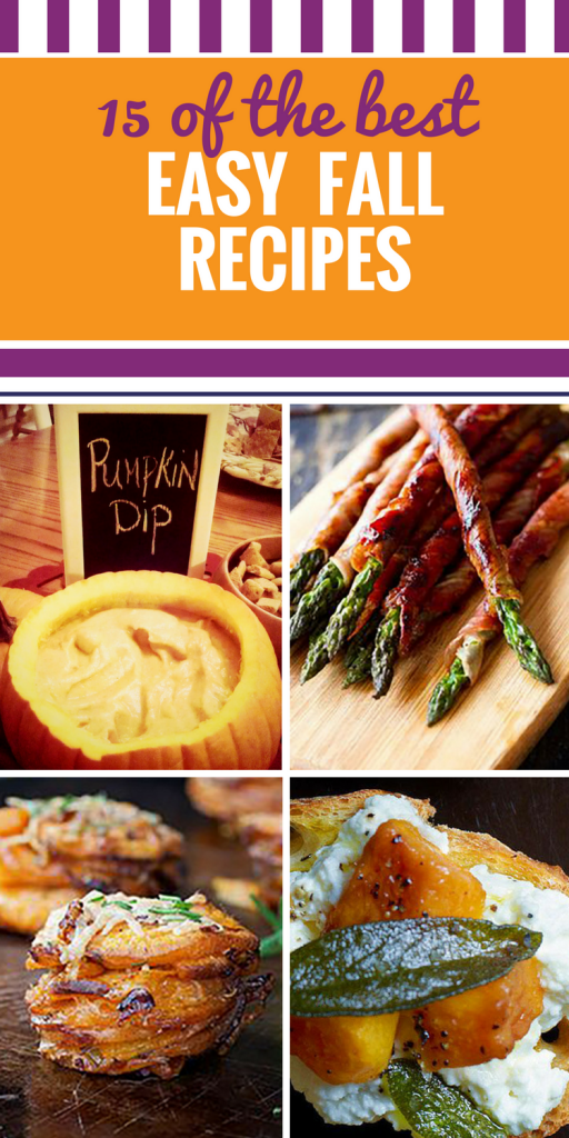 15 Fall Appetizers Recipes. This collection of autumn ideas are perfect for a party (you won't believe this yummy pumpkin dip), irresistible desserts or that last barbeque of the season. We've even included some Halloween food.
