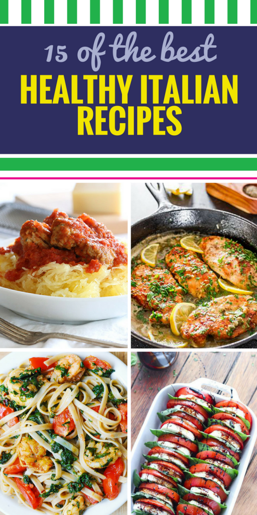 15 Healthy Italian Recipes. When you think about Italian dinner recipes, you might think about rich sauce on pasta and think they can't be healthy. Thank again. These recipes (including some for your crockpot) include yummy soup, chicken entrees and even pasta salad that are delicious AND healthy.